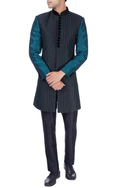 Manish Nagdeo - Men Black & green sherwani & trousers