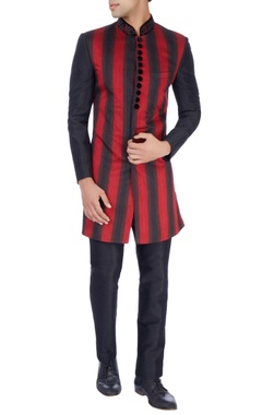 Manish Nagdeo - Men Red & black Nehru jacket & trousers