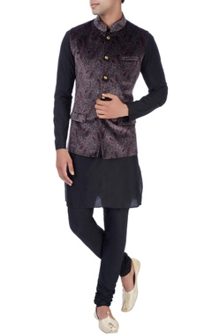 Theorem Grey velvet paisley bandi jacket