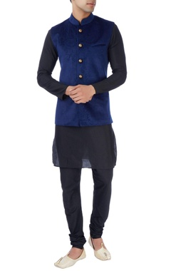 navy blue laser design bandi jacket