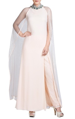 Light peach maxi with attached cape & pants