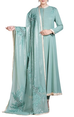 Blue embroidered anarkali set with 3D flowers