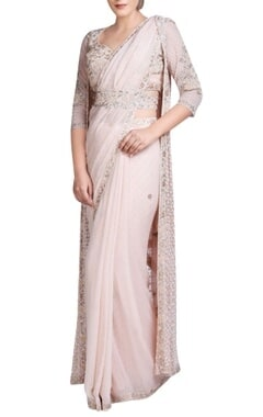 blush pink embroidered sari set with jacket