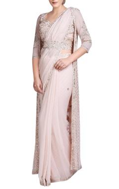 Blush pink embroidered sari set with jacket