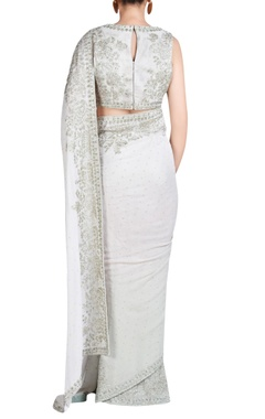 light grey embroidered sari