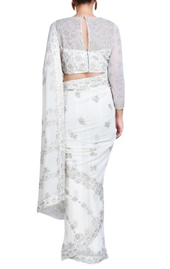 ivory sari set with jaal embroidery