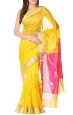 yellow sari with lotus pattern
