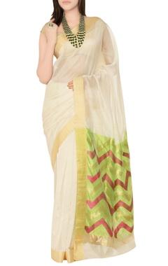 Off-white & green sari with chevron pattern