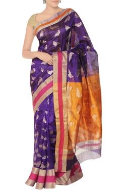 Purple & orange sari with parrot pattern