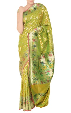 green sari with floral pattern