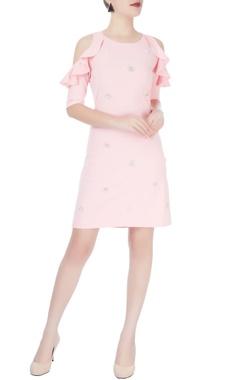 Light pink cold-shoulder dress