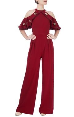 Wine red cold-shoulder jumpsuit