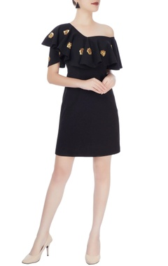 Black off-shoulder ruffle dress