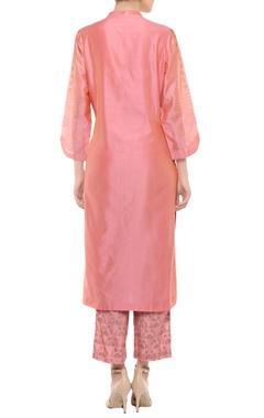 Coral pink badla work kurta set