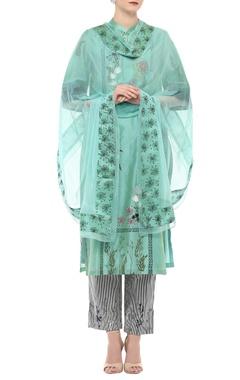 Aqua blue embroidered kurta set