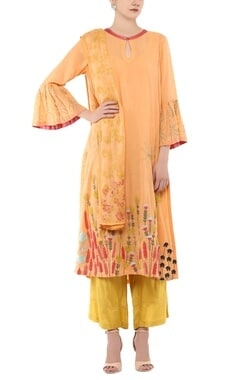 Orange & yellow embroidered kurta set