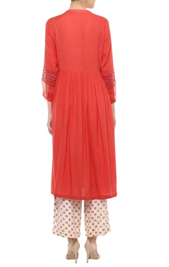 Red embroidered kurta with printed palazzo & dupatta