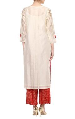 Off-white & red dori work kurta set