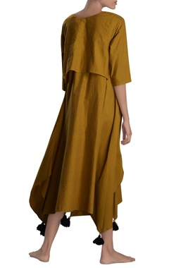 Mustard yellow asymmetric maxi dress
