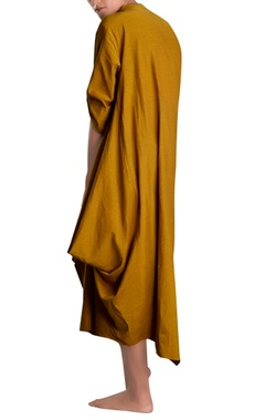 Mustard yellow asymmetric midi dress
