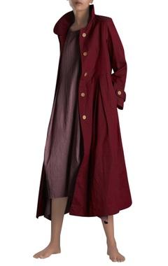 Maroon handloom trench jacket