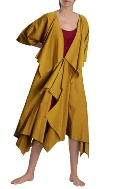Mustard yellow long draped jacket