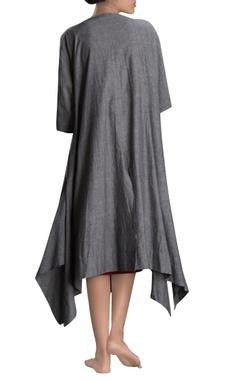 Grey long draped jacket