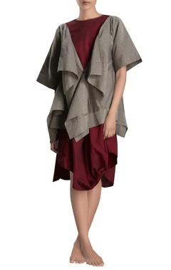 Grey handloom draped jacket