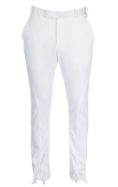White straight fit trousers with fringes