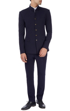 navy blue straight fit trousers