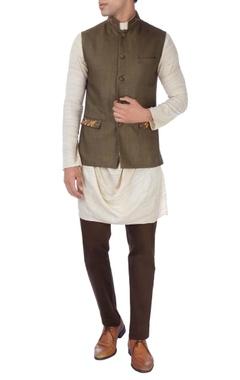 Khaki brown & beige nehru jacket set
