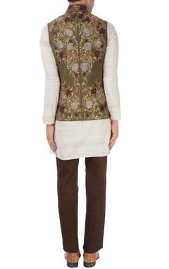 Beige floral nehru jacket set