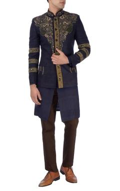 Navy blue nehru jacket & kurta set