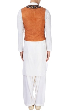 White kurta with blue & orange waistcoat