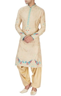 Gold kurta set with chinar and peacock moitifs
