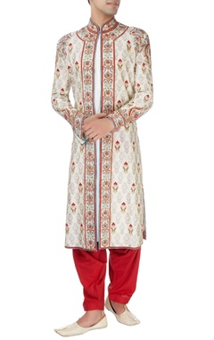 Beige sherwani set with multicolored embroidery
