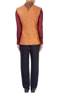 orange & burgundy dori bandhgala