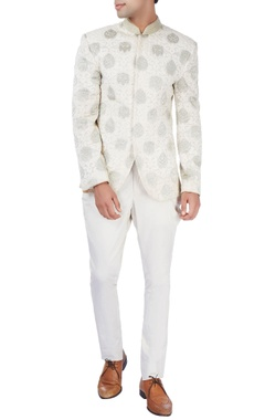 Barkha 'N' Sonzal White bandhgala jacket with gold embroidery
