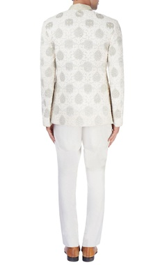 white bandhgala jacket with gold embroidery
