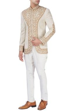 Barkha 'N' Sonzal Beige bandhgala jacket with gold embroidery