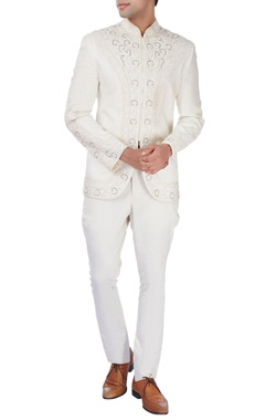 White bandhgala jacket with dori embroidery