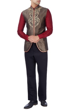 Black bandhgala jacket with gold embroidery