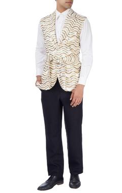 white & gold disco jacket with white shirt