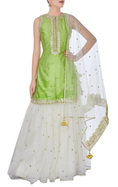 Green & cream gota work sharara set