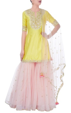 Yellow & pink sharara set