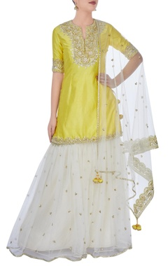 Yellow & cream sharara set