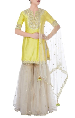 Yellow & grey sharara set