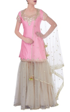 Pink & cream sharara set