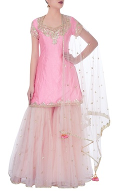 Light pink kurta with sharara pants