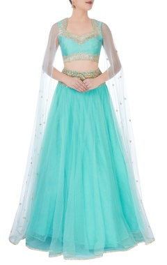 Turquoise blue gota embroidered lehenga